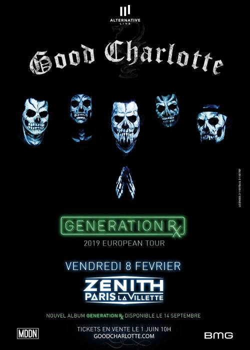 good Charlotte generation rx actual pain zénith de Paris alternative live BMG