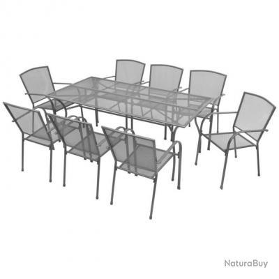mobilier d exterieur avec coussins 17 pcs maille d acier