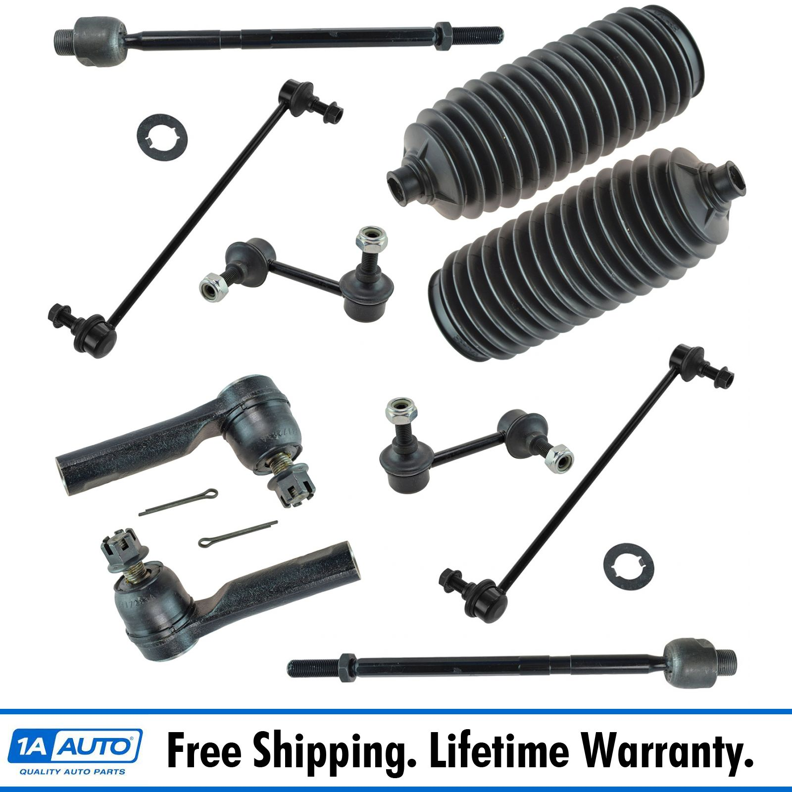 10 Piece Kit Tie Rod End Sway Bar Link Rack Pinion Boot