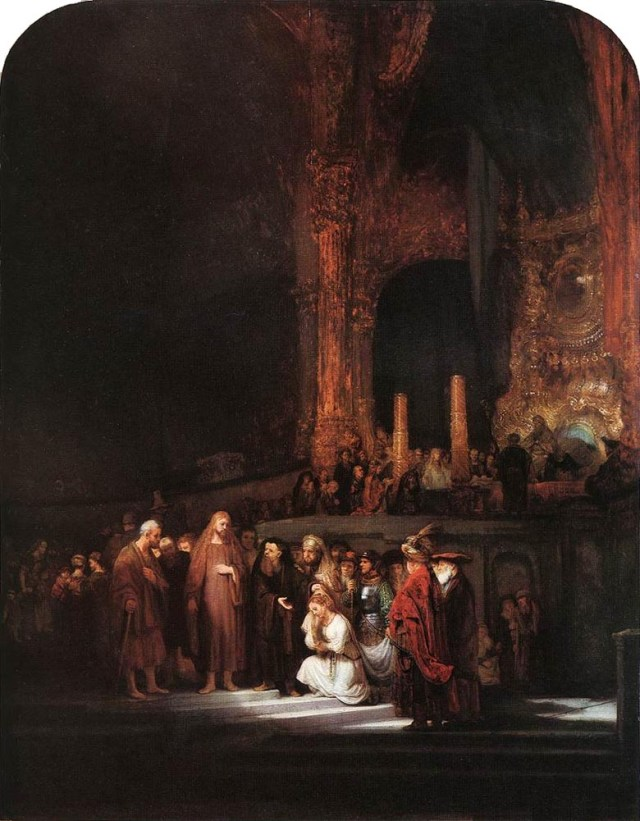 Adultery, Woman taken in, rembrandt