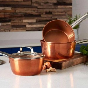 Tower Copper Forged 3 Piece Saucepan Set