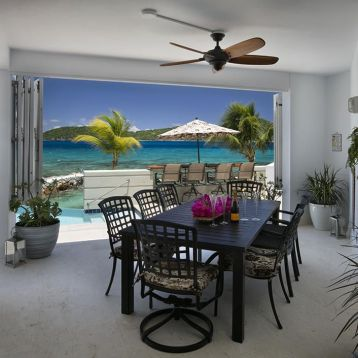 Covered outdoor dining area above pool