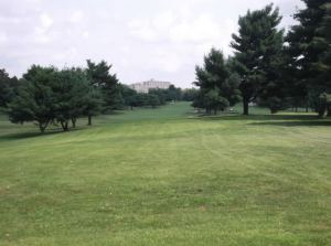 A look from the 3rd tee towards a trifurcated fairway, with UK's Hospital tower looming in the background.*