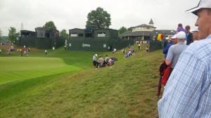 The hills surrounding the 18th green ensure that the guys in the TV tower aren't the only ones with a fantastic view of what should be a dramatic finish to the tournament.