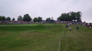 From my roaming perch between the 1st and 9th fairways, I was able to see several marquee groups play one of the more memorable holes of the course.
