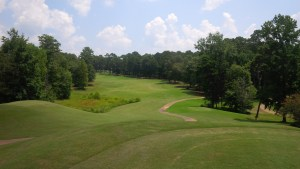 """We could tell from the first tee that there was little resemblance to an actual """"links"""" course, with the elevation change and tree lined fairways."""