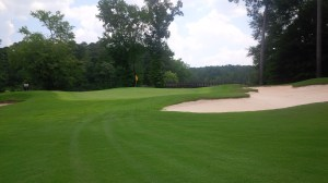 The lush color of the greens was the result of a tremendous volume of water application, creating soggy conditions that starkly contrasted the rest of the courses we played.