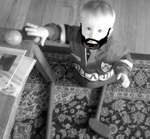 Thanks to the generosity of his Uncle Dan, The Baby has a nice starter set of clubs to practice with indoors this winter.