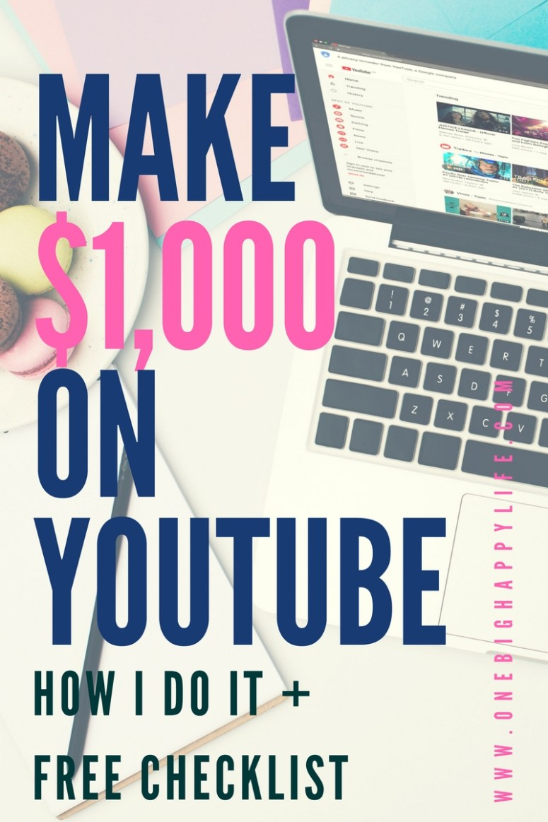 How I Make $1000 a Month as a Brand New Youtuber Text Graphic