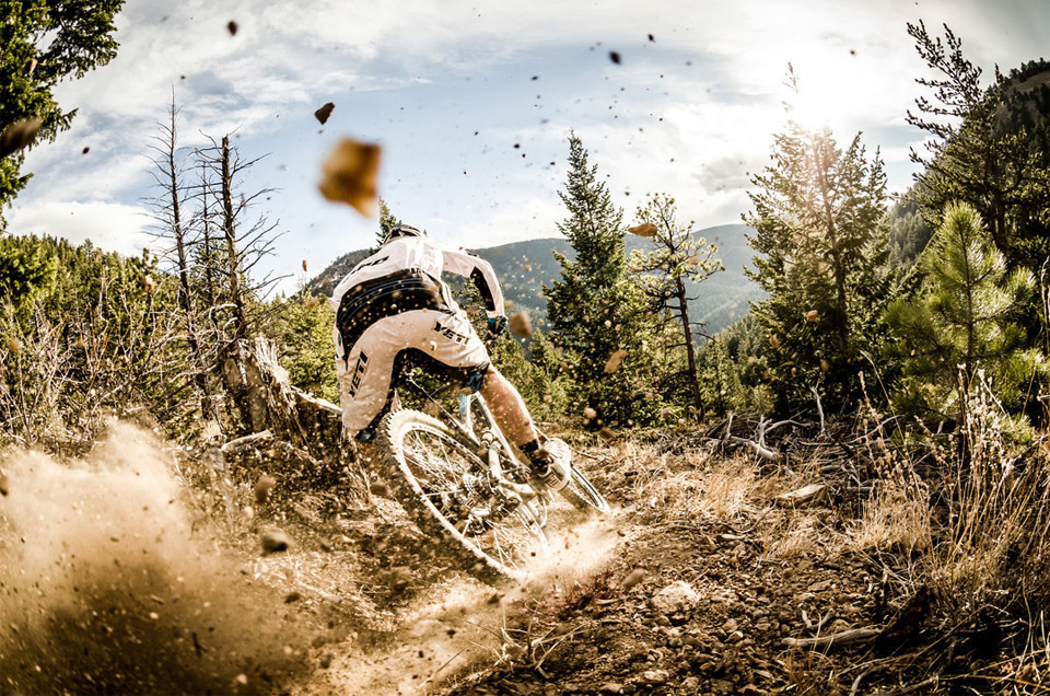 racing down the mountain