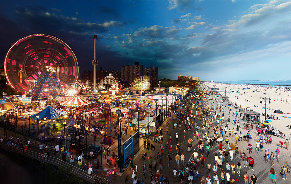 night to day, coney island, new york