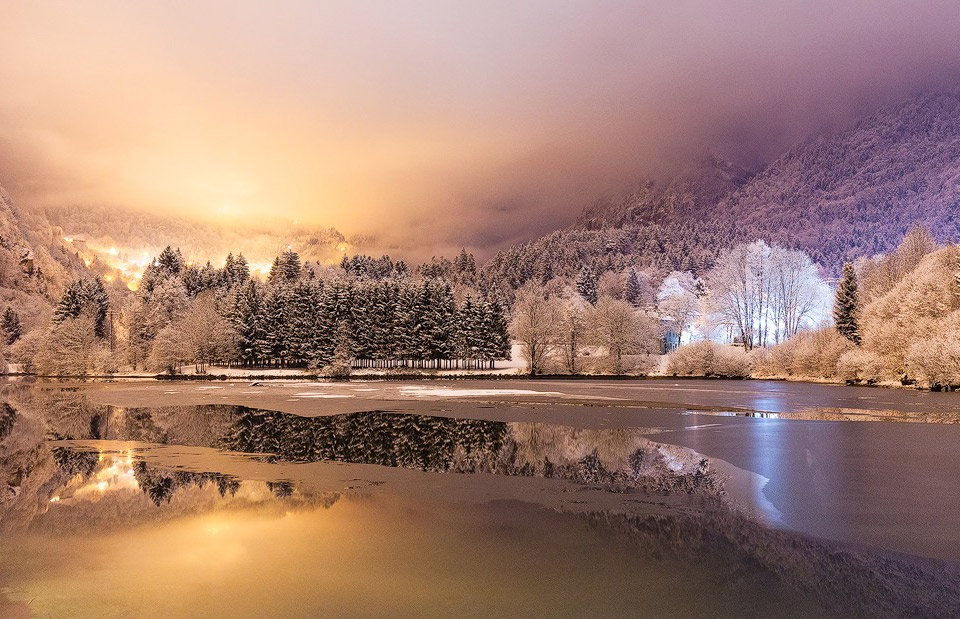 Winter Night Scenery At Lenna Lake, Italy