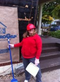 Char Brooks cleans up at Habitat for Humanity