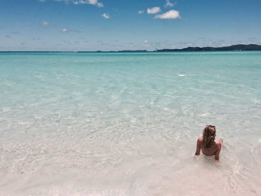 Whitehaven Beach and Woman