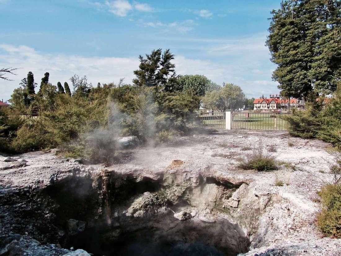 Smoking geyser in Rotorua