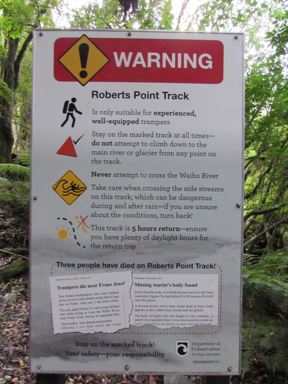 Roberts Point Track Warning, New Zealand