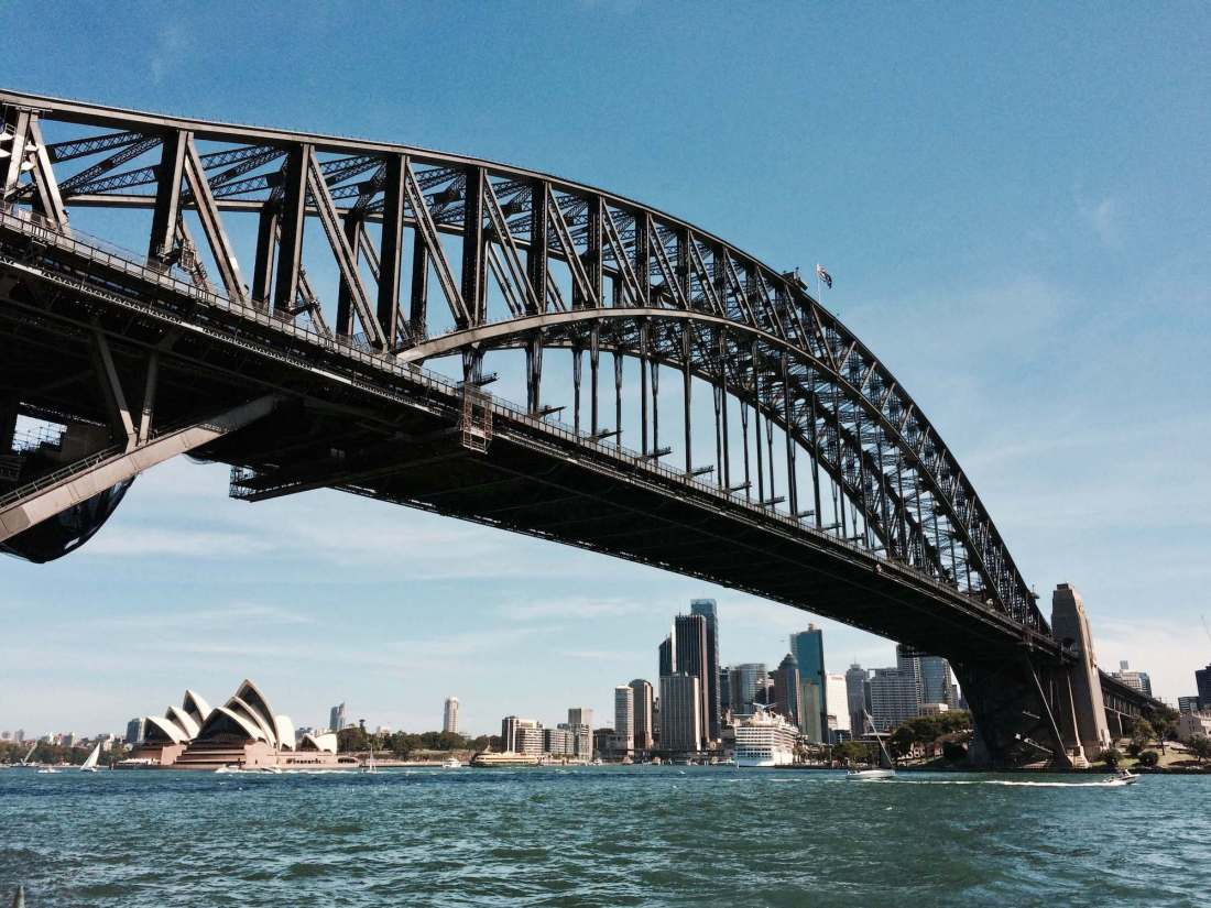 Sydney Harbour Bridge and view of Opera House from the ferry