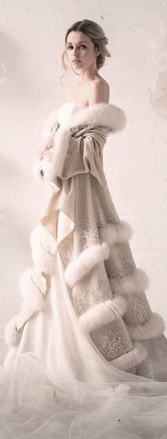 winter wedding dress with fur coat - Copy