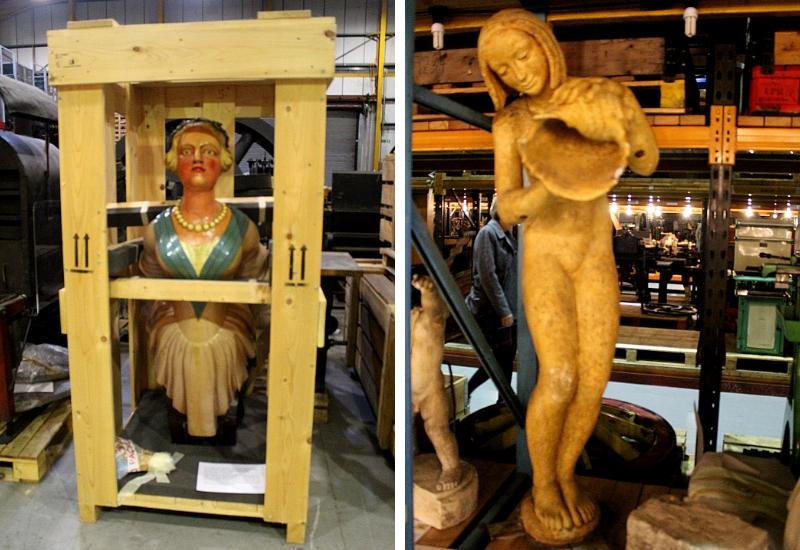 female boat head and female statue