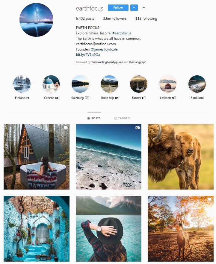 Instagram Accounts That Feature Travel photos- earthfocus