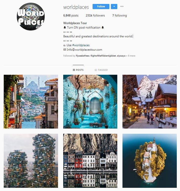 Instagram Accounts That Feature Travel photos- world palces