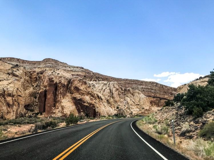 Road going through Capitol Reef in Utah