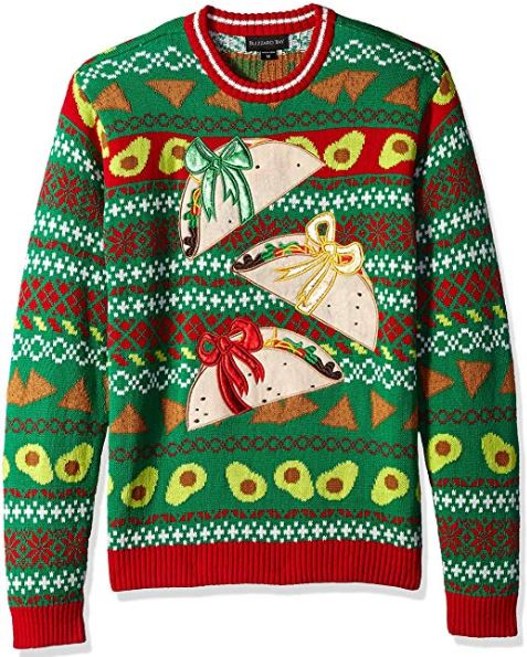Best Ugly Holiday Sweaters on Amazon: Tacos Christmas Sweater