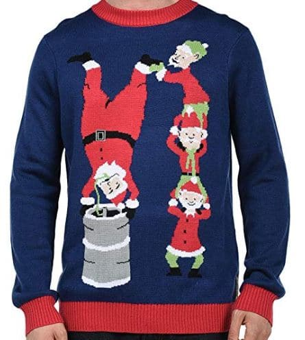 Best Ugly Christmas Holiday Sweaters on Amazon: Santa's Keg Stand Christmas Sweater