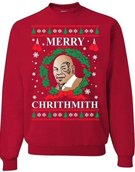 Best Ugly Christmas Holiday Sweaters on Amazon: Merry Chrithmith Mike Tyson Ugly Christmas Sweater