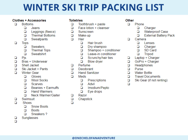 Packing Check List for Ski Trip