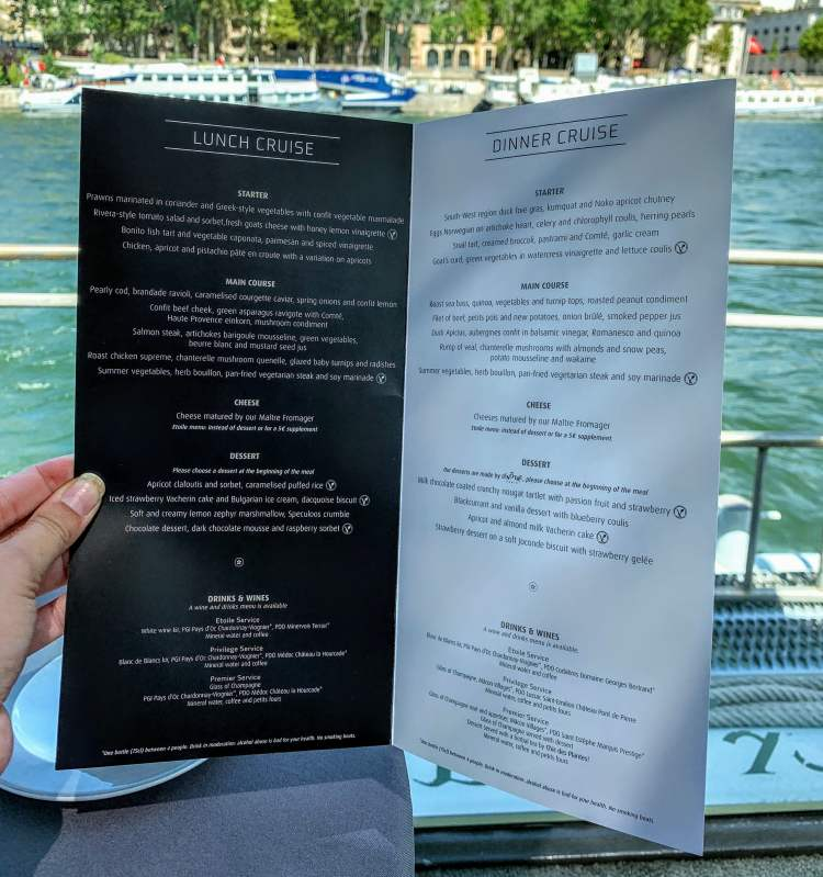 Bateaux River Lunch Cruise Paris Lunch Dinner Menu