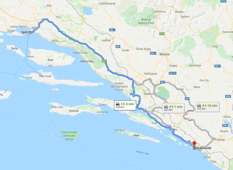 Driving from Split to Dubrovnik Croatia
