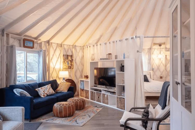 glamping yurt interior