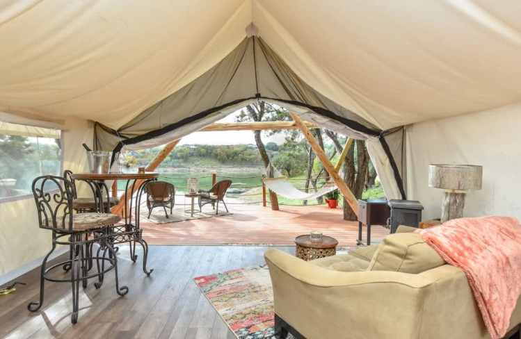riverfront glamping tent ATX