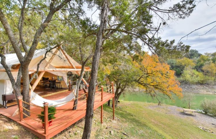 Luxury glamping tent on river