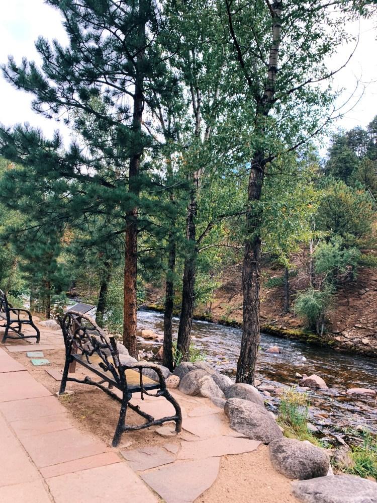 Estes park river benches