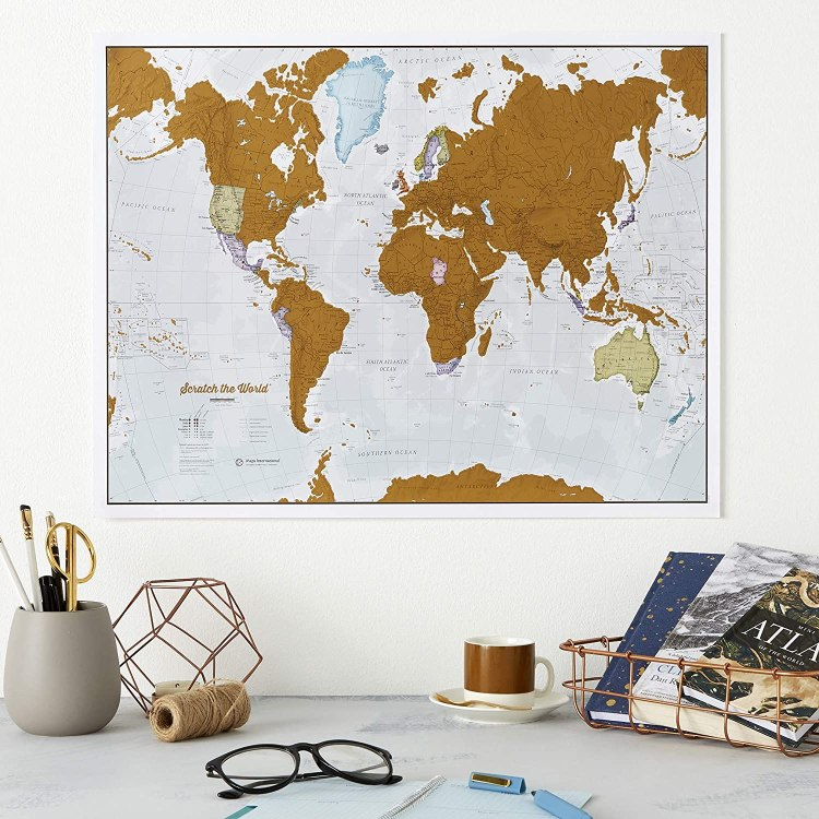 Scratch off world map travel gifft