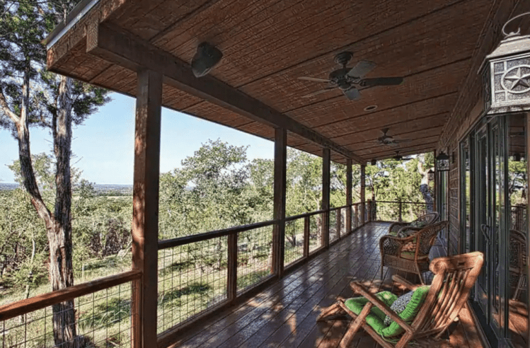 Texas log cabin with view