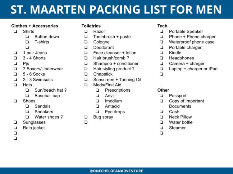 St. Maarten Packing list for Men - Printable