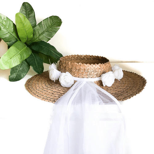 bride beach hat with veil for Beach Bachelorette Party