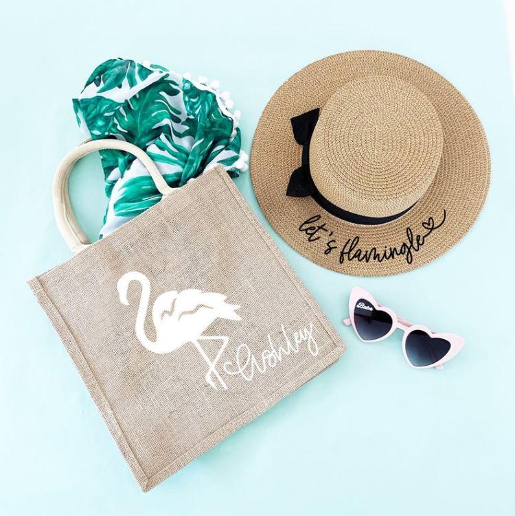 flamingo tote bag for tropical Beach Bachelorette Party