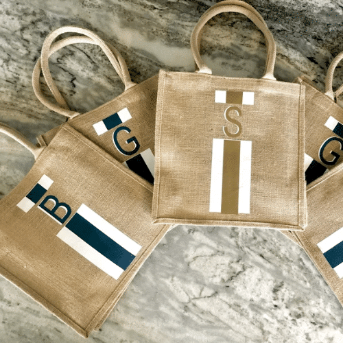 Nautical Bachelorette Party Ideas - initial tote bags