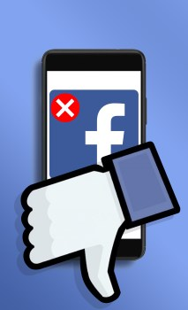 """Image of Facebook logo on a smartphone screen with a red X in the corner and a Facebook """"thumbs down"""" logo in front"""