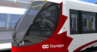 Confederation line train at bayview station image taken fro