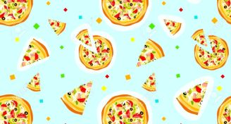 Seamless colorful cartoon pizza texture with confetti royalty free