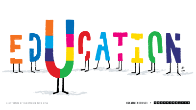 A colorful display of letters spelling education