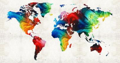A map of the world.