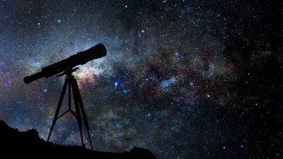 A telescope pointed at the night sky