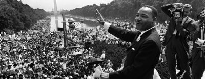 This image shows Dr. Martin Luther King Jr. speaking in Washington, DC.