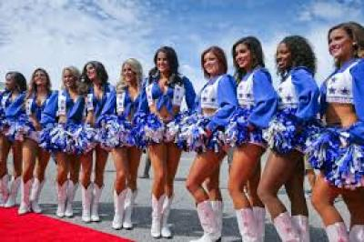 This image is of the Dallas Cowboy Cheerleaders, a team of women who are often seen on screen and in movies.